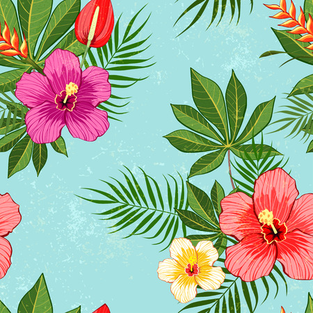 Tropical flowers pattern on blue background