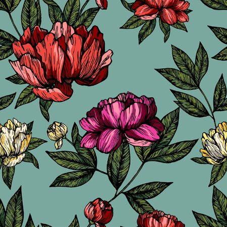 Flowers pions with foliage pattern on blue background