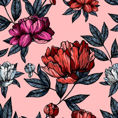Flowers pions with foliage pattern on pink background Illustration