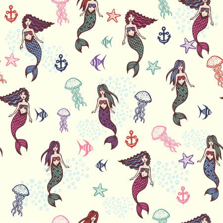 Little cute mermaids pattern on yellow background