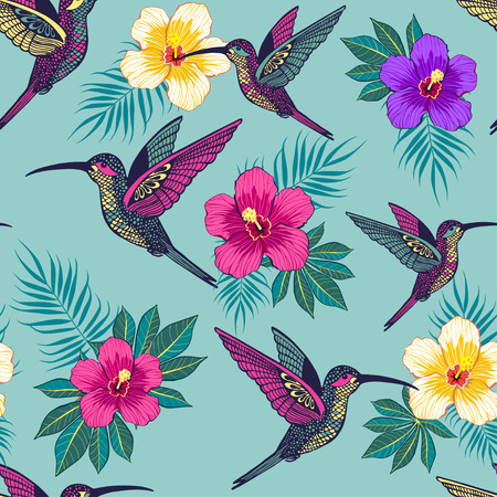 Tropical flowers with a bird pattern on blue background