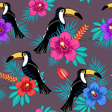 Tropical flowers and toucan pattern on brown background Illustration