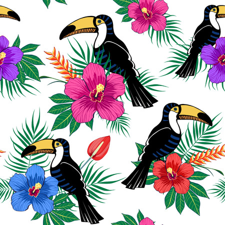 Tropical flowers and toucan pattern on white background