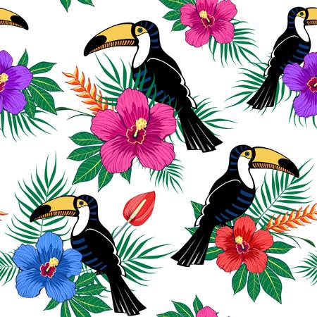 Tropikalne kwiaty i tukan wzór na białym tle