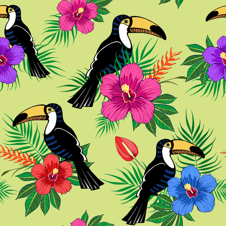 Tropical flowers and toucan pattern on green background