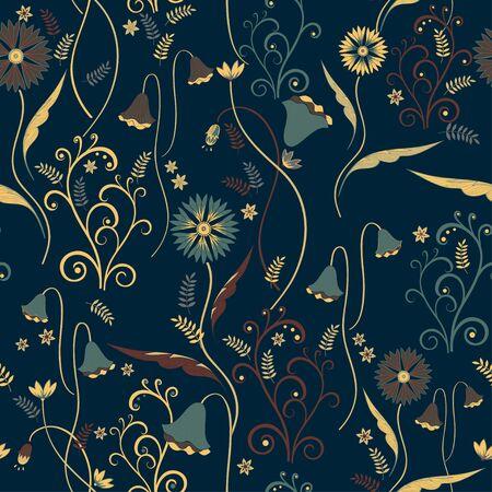 Wildflowers pattern with decorative elements on dark blue background