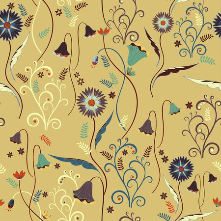 Wildflowers pattern with decorative elements on yellow background Illustration