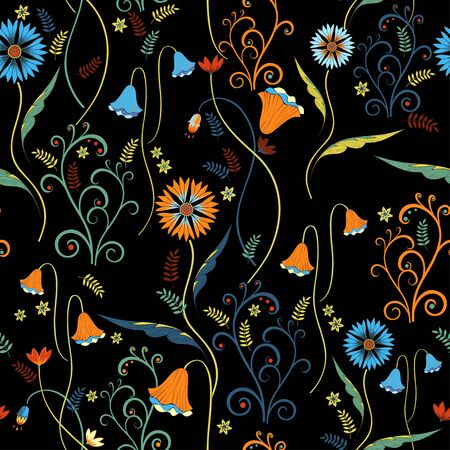 Wildflowers pattern with decorative elements on black background
