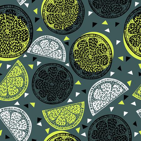 Citrus pattern graphics on green background Illustration