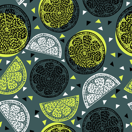 Citrus pattern graphics on green background Иллюстрация
