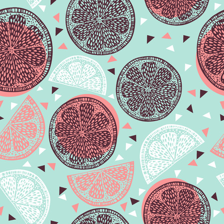 Citrus pattern graphics on blue background Illustration