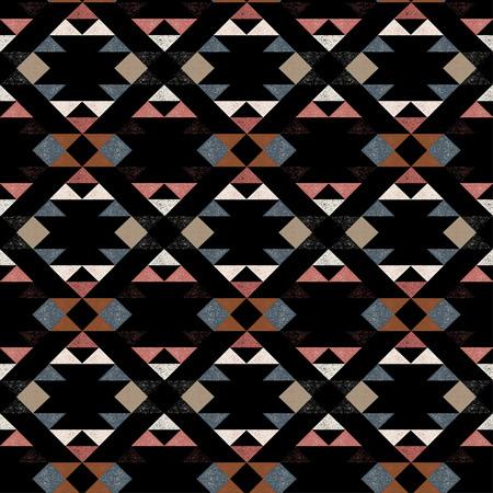 Navajo ethnic pattern on black background- vector illustration. Illustration