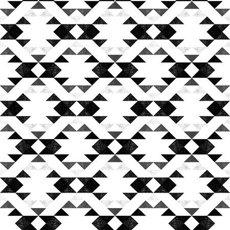 Navajo ethnic monochrome pattern on white background - vector illustration.