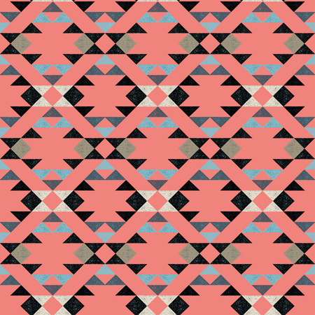 Navajo ethnic pattern on pink background- vector illustration. Illustration