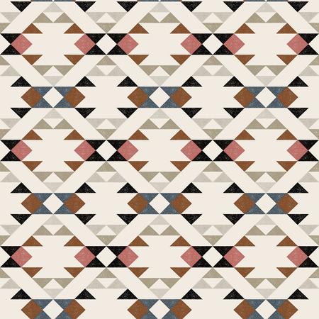 Navajo ethnic pattern on beige background - vector illustration.