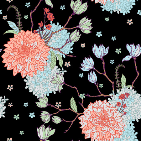 Floral pattern with sacura on the black background. Illustration