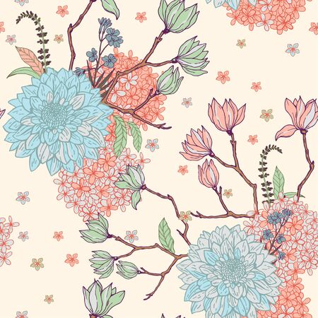 Floral pattern with sacura on the beige background. Illustration