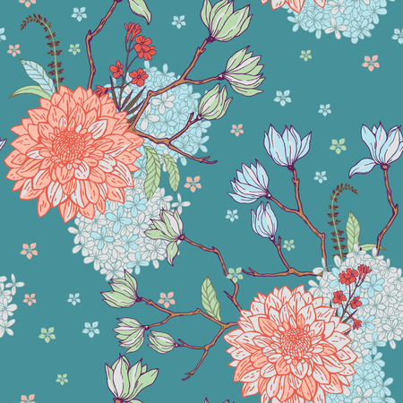 Floral pattern with sacura on the blue background.