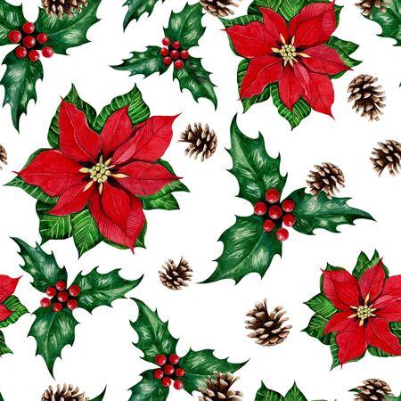 New Years Christmas plants seamless pattern.
