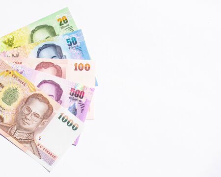 Colorful of Thai currency,banknotes with white background