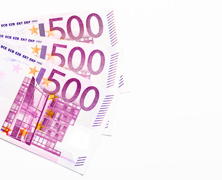 500 notes of euro currency with white background 写真素材