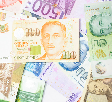 Colorful background of many currency,money profit from business with many country Stock fotó
