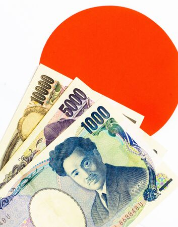 Success and got profit from business with Japanese currency on Japanese flag background