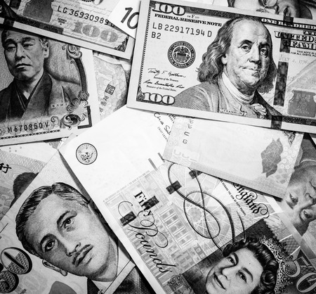 Background of many currency,money profit from business with many country on black and white color
