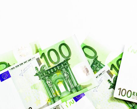 Success and got profit from business with hundred euro banknote on white background