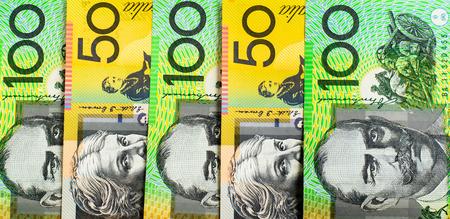 australian dollars: Background of  australian dollars with green and yellow Stock Photo