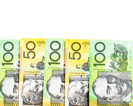 australian dollars: Success and got profit from business with  Australian dollars banknote on white background