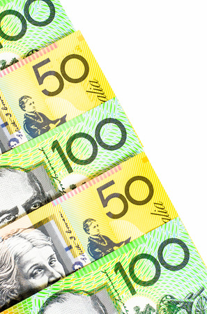 Success and got profit from business with  Australian dollars banknote on white background