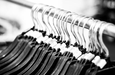 clothes rail: Plastic clothes hangers with black and white color of many size,Small,Large,Medium,Extra Large
