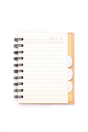 Blank vertical isolated notebook with clipping path, ring binder and wood cover style photo