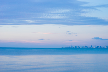 topical: topical sea evening with city view Stock Photo