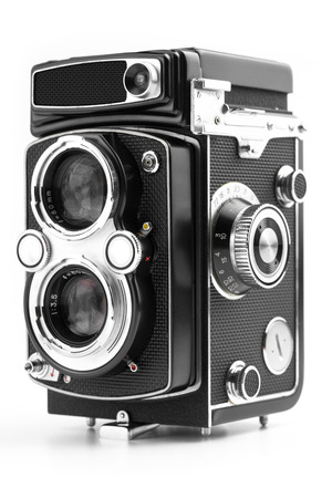 viewfinder vintage: Vintage camera isolated on white background