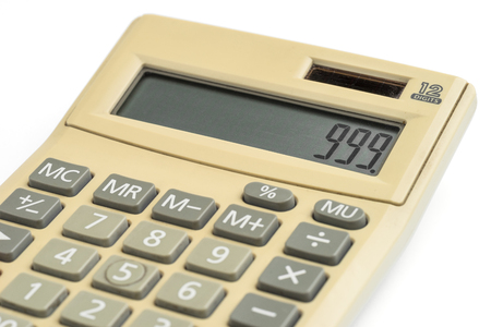 slovenly: Old digital calculator isolated on white background Stock Photo