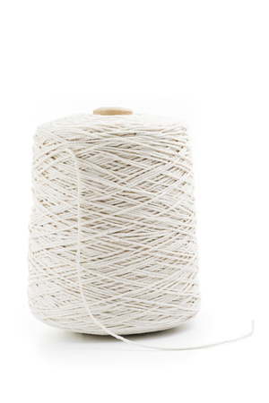 roll of white rope isolated on white background