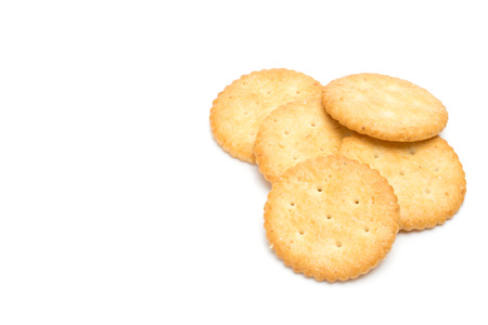 over white background: Crackers stacked isolated over white background