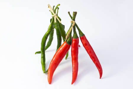 Bunch of red and green hot chilli peper