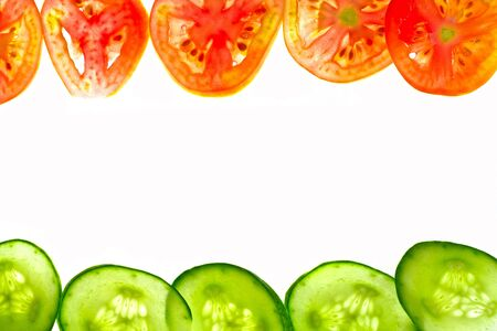 Pieces of sliced tomato and cucumber frame