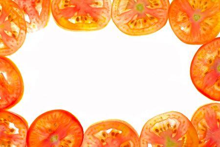 Pieces of sliced tomato frame Stock Photo