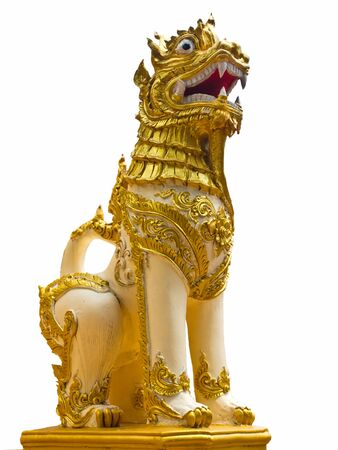 Thai lion statue style isolated on white background