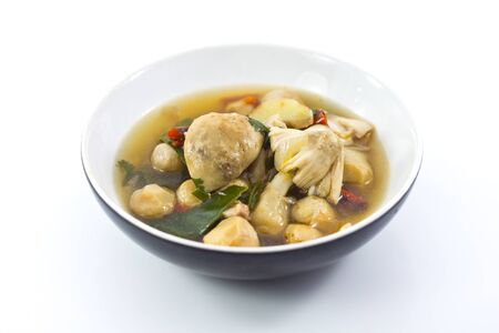 Thai Dishes - Spicy soup made from Mushrooms and Chicken Meat