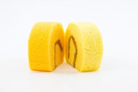 cake roll on white background Stock Photo