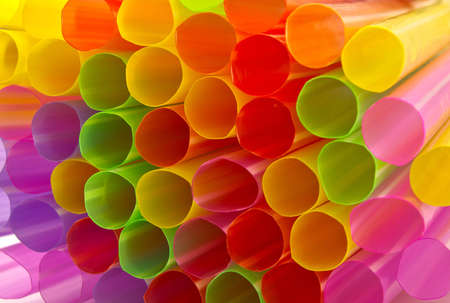 Abstract background from many multi-color of straw