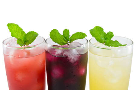 Three glass of apple,grape and strawberry juice Stock Photo - 12821438