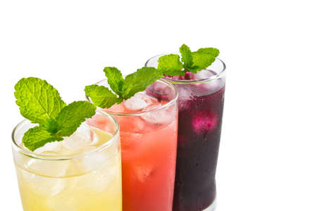 Three glass of apple,grape and strawberry juice Stock Photo - 12821411