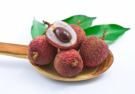 litschi: Fresh lychees isolated on white Stock Photo