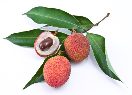 Fresh lychees isolated on white photo